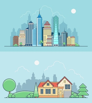 Liniowe budynki płaskie drapacze chmur biura i dom na zielono
