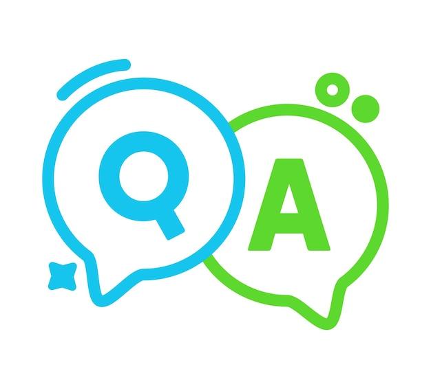 Liniowe dymki q i a, zielone i niebieskie balony konturowe, koncepcja pytań i odpowiedzi. wielkie litery, często zadawane pytania,