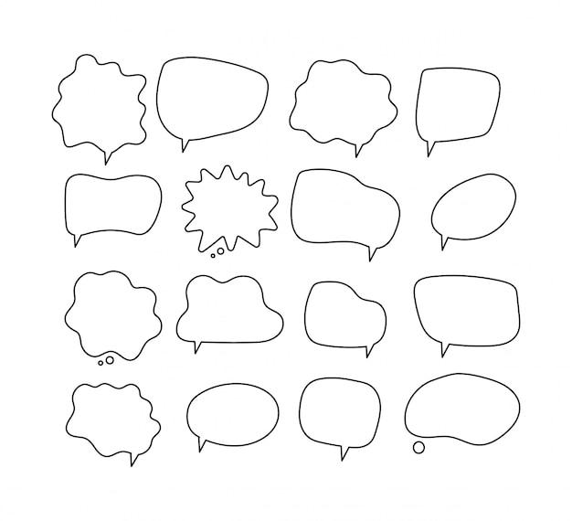 Liniowe dymki. scribe okrągłe kształty do kolekcji komiksów w bańkach