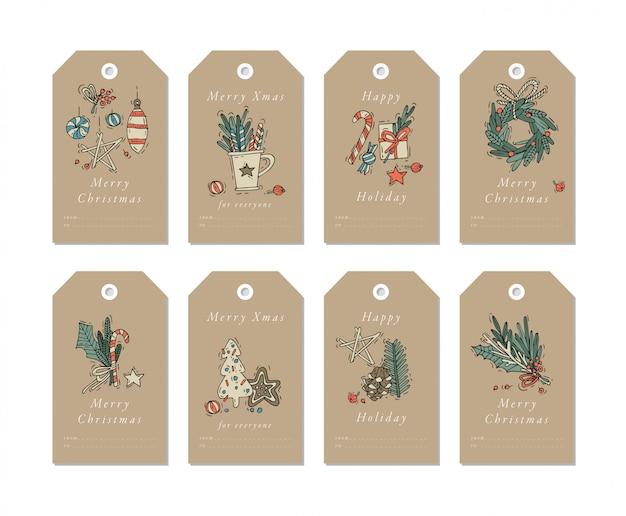 Liniowe elementy świąteczne pozdrowienia na papierach rzemieślniczych. świąteczne tagi zestaw z typografią i kolorowe ikony.