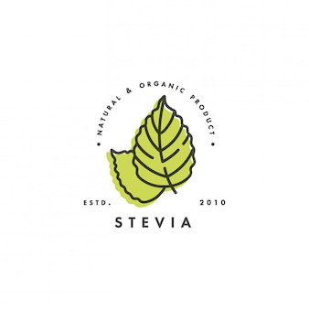 Liniowe etykiety stewii, logo, odznaki i ikony. naturalny element słodzika. ikona organicznych stewii. odznaka ekologiczna stewia.