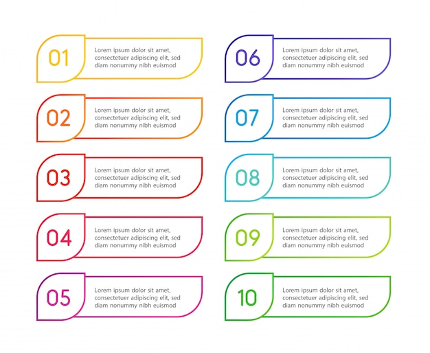 Liniowe kolorowe kroki menu, interfejs aplikacji. opcje liczbowe. projektowanie stron internetowych elementów przycisków. ilustracja infografiki.