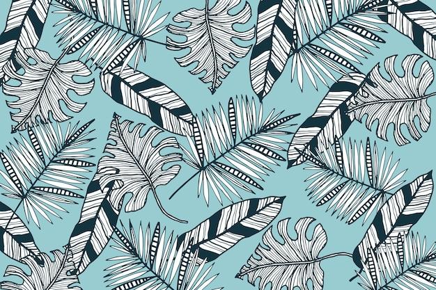 Liniowe Liście Tropikalne Z Pastelowym Kolorem Tła Darmowych Wektorów