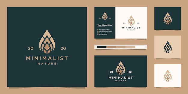 Liniowe logo w kształcie kropli i liści. logo i wizytówka