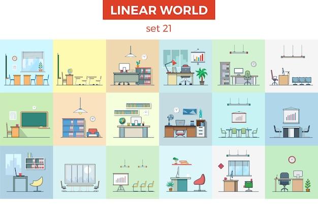 Liniowe meble płaskie wektor ilustracja zestaw koncepcja wnętrza domu