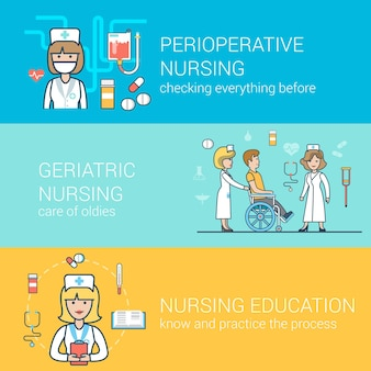 Liniowe płaskie koncepcje personelu medycznego ustawione na stronie internetowej. pielęgniarka z pacjentem na wózku inwalidzkim, edukacja, okołooperacyjna opieka zdrowotna