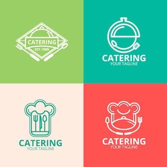 Liniowe płaskie logo cateringowe