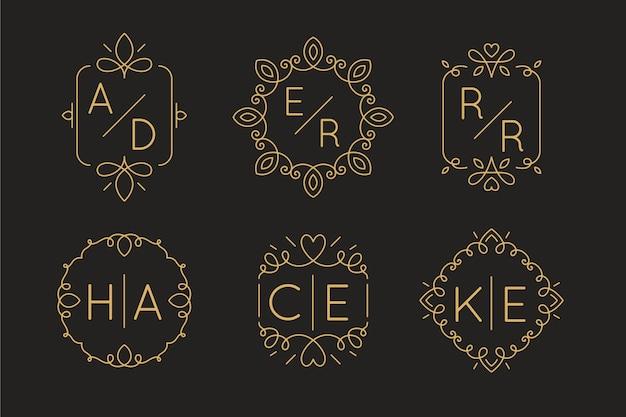 Liniowe płaskie logo ślubne
