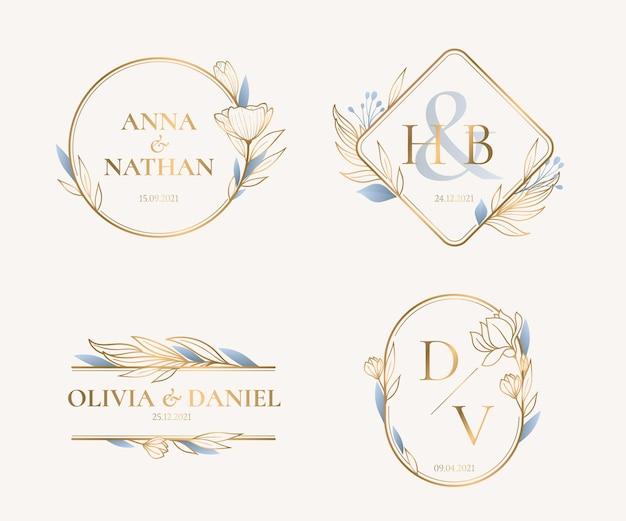 Liniowe płaskie monogramy ślubne