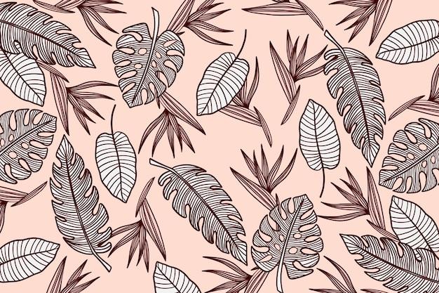 Liniowe tło tropikalne liście w pastelowym kolorze