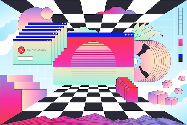 Liniowe tło vintage vaporware