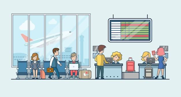 Liniowi płascy ludzie na lotnisku poczekalni i ilustracja pasek bagażu rejestracyjnego. koncepcja transportu publicznego.