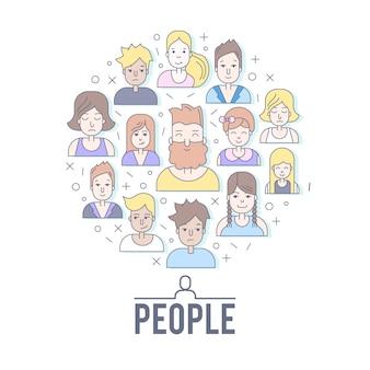 Liniowi płascy ludzie stawiają czoło ilustrację. social media awatar, userpic i profile.