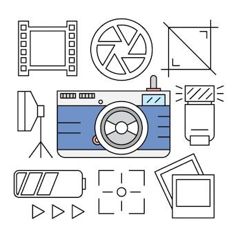 Liniowy aparat fotograficzny i ikony fotografii