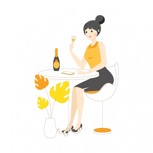 Liniowy charakter kobieta dziewczyna koncepcja ilustracja picia wina impreza izolacja siebie
