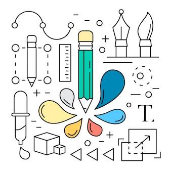Liniowy cyfrowy ikony narzędzi projektowania