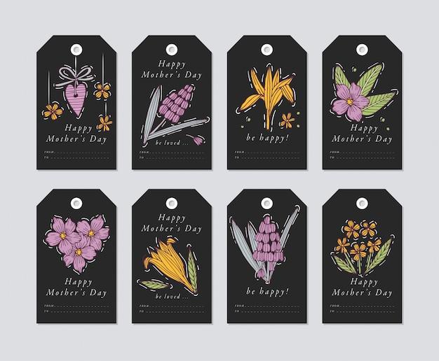 Liniowy dla elementów pozdrowienia z okazji dnia matki na tle darck. tagi wakacje wiosna zestaw z typografią i kolorowe ikony.