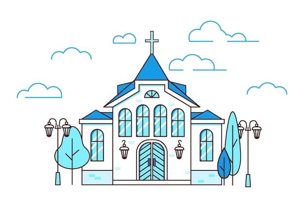 Liniowy dom chrześcijański chrześcijański kościół z drzewami i latarniami