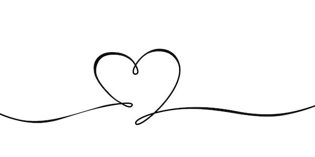 Liniowy kształt serca na białej ilustracji