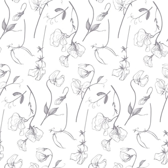 Liniowy kwiatowy wzór groszku w szary i biały wzór
