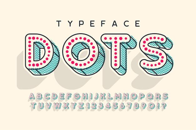Liniowy nowoczesny projekt alfabetu popart, litery i cyfry.