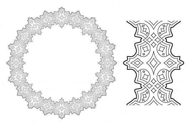 Liniowy obrazek z abstrakcyjnym wieniec gwiaździstym