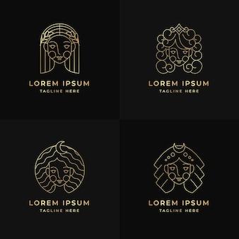 Liniowy pakiet logo płaskiej bogini