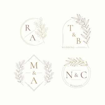 Liniowy pakiet logo ślubu o płaskiej konstrukcji