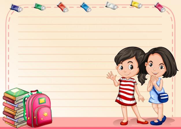 Liniowy papier z dziewczynami i książkami