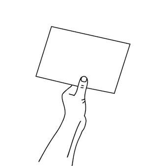 Liniowy papierowy dokument w ludzkiej dłoni narysowany kontur prosta grafika cienka linia sztuki na białym tle...