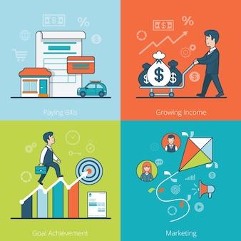 Liniowy płaski biznesmen jazdy worki pieniędzy na wózku, schemat wspinaczki. płacenie rachunków, rosnące dochody, osiąganie celów, koncepcja biznesowa marketingu.