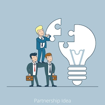Liniowy płaski biznesmen wstawia kawałek układanki do lampy pomysł, uruchomienie, koncepcja biznesowa partnerstwa.