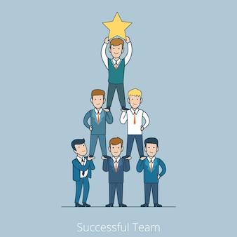 Liniowy płaski biznesmeni stojący z liderem piramidy na górze trzymając gwiazdę udany zespół marzeń, praca zespołowa w koncepcji biznesowej.