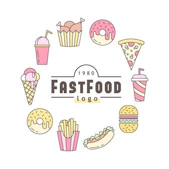 Liniowy płaski fast food odznaka, sztandar lub logo godło.