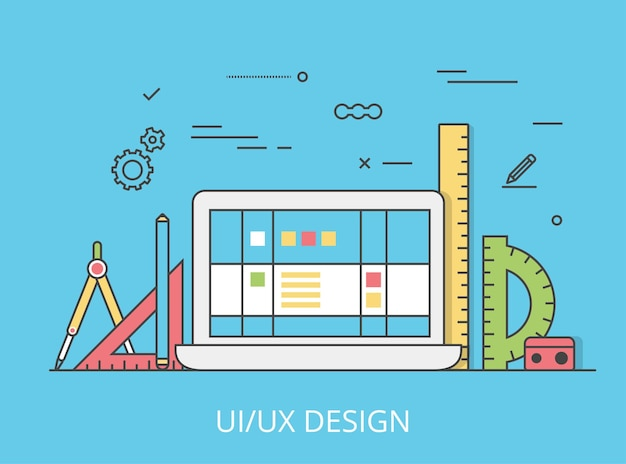 Liniowy płaski interfejs ui / ux projekt strony internetowej bohater obrazu ilustracji. doświadczenie użytkownika, projektowanie i testowanie koncepcji aplikacji i oprogramowania. laptop, digitizer, linijki i model szkieletowy
