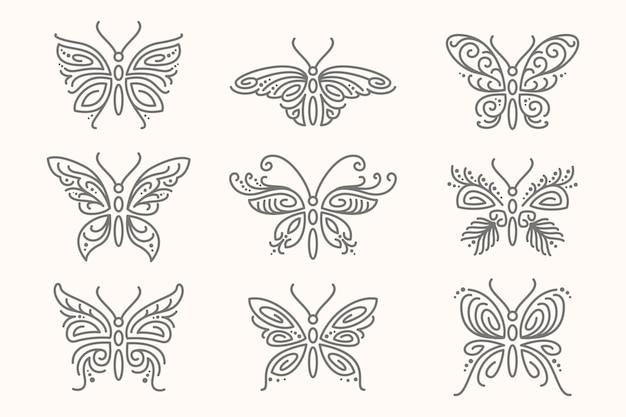 Liniowy płaski kontur motyla