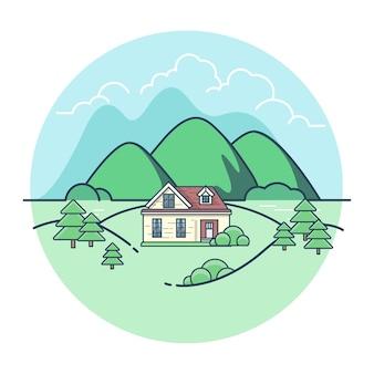 Liniowy płaski krajobraz. dom z górami i drzewami.