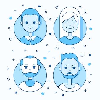 Liniowy płaski ludzi stoi zestaw ikon. social media awatar, userpic i profile.