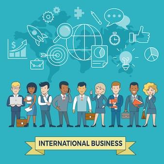 Liniowy płaski międzynarodowy biznes infografiki ikony szablon strona internetowa bohater obrazu wektor