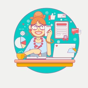 Liniowy płaski. młody kierownik biura lub bizneswoman wielozadaniowość. biznesowa dama lub firma pracownik. sekretarz lub urzędnik pracujący przy jej biurku