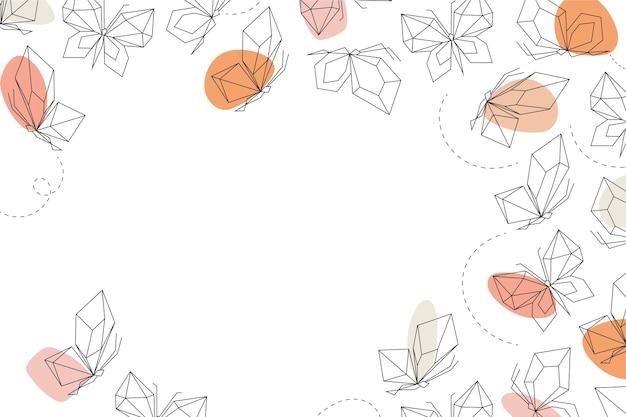Liniowy płaski motyl zarys tapety
