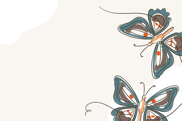 Liniowy płaski motyl zarys tła