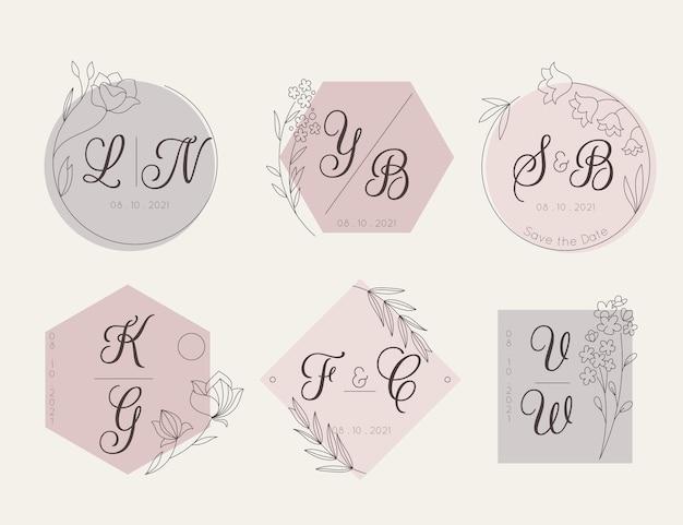 Liniowy płaski zestaw monogramów ślubnych