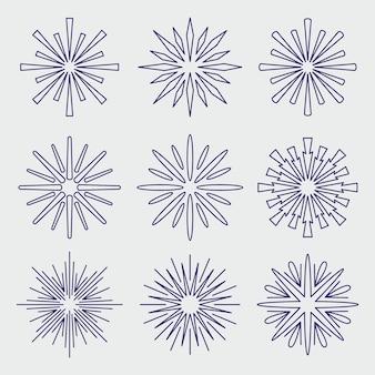 Liniowy płaski zestaw sunburst