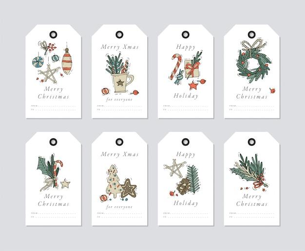 Liniowy projekt elementy świąteczne pozdrowienia na białym tle. świąteczne tagi zestaw z typografią i kolorowe ikony.