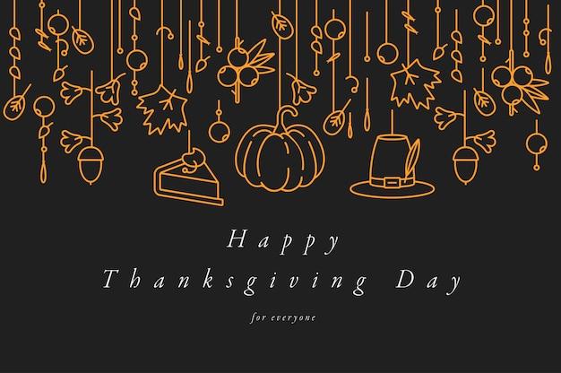 Liniowy projekt kartka z życzeniami święto dziękczynienia. typografia i ikona na tle jesiennych wakacji, banery lub plakaty i inne materiały do wydrukowania.