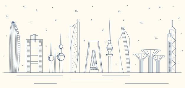 Liniowy projekt panoramę kuwejtu