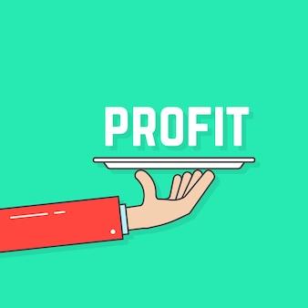 Liniowy ręka trzyma zysk na talerzu. pojęcie hipoteki, przychodów, wygranej, akcji, kelnera, strategii menedżera, dotacji, motywacji. płaski trend nowoczesny projekt logo wektor ilustracja na białym tle