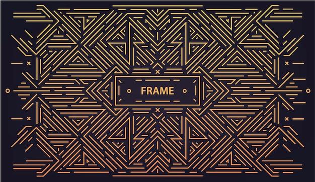Liniowy streszczenie tło wektor geometryczne, rama retro, szablon projektu. ozdobne obramowanie na kartkę z życzeniami, opakowanie, zaproszenie w stylu ozdobnym, luksusowy vintage