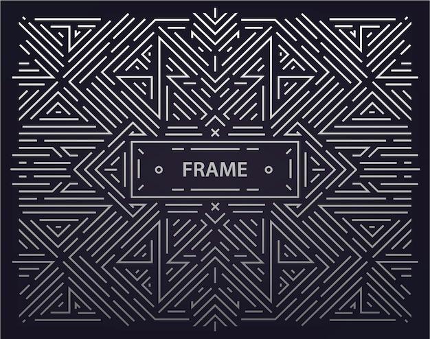 Liniowy streszczenie tło wektor geometryczne, rama retro, szablon projektu. ozdobne obramowanie na kartkę z życzeniami, opakowanie, zaproszenie w stylu ozdobnym